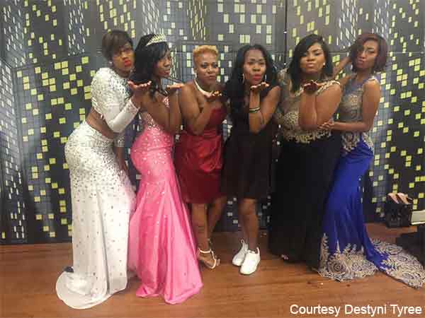 Destyni Tyree (second from left) celebrating prom. She was named prom queen.
