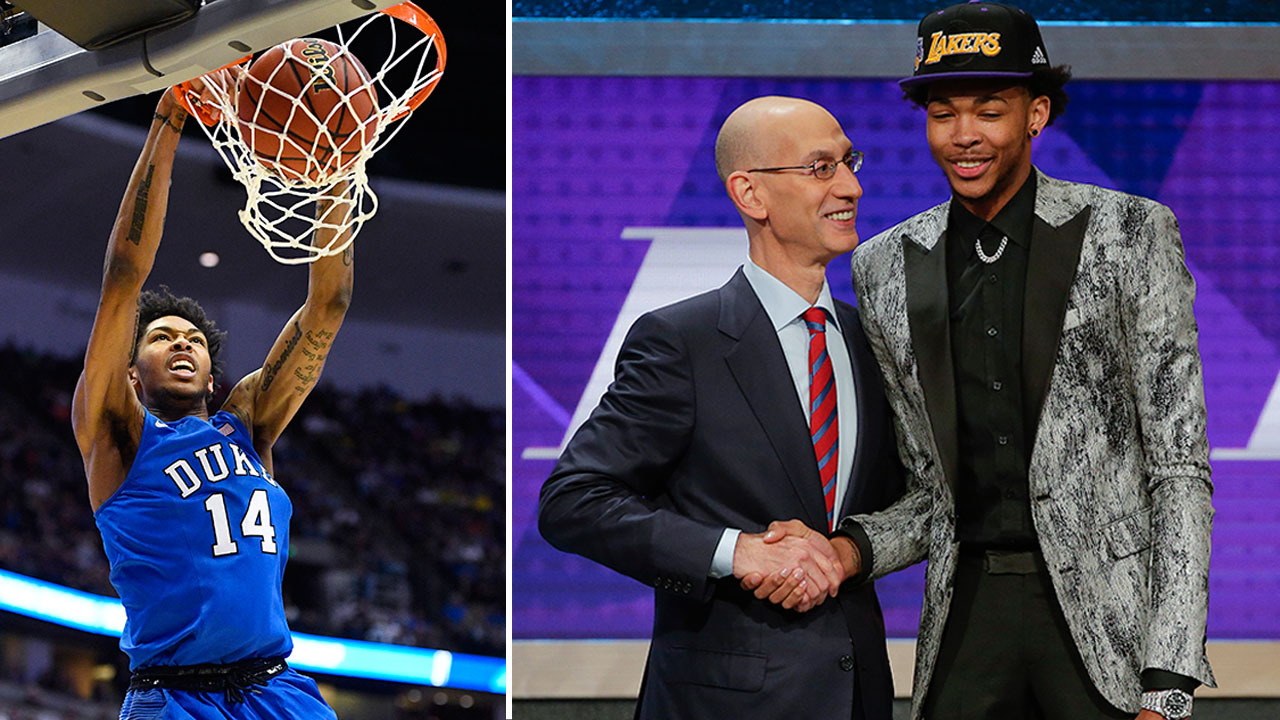 Duke University freshman Brandon Ingram (14) was selected with the second overall pick by the Los Angeles Lakers in the 2016 NBA Draft on Thursday, June 23, 2016.
