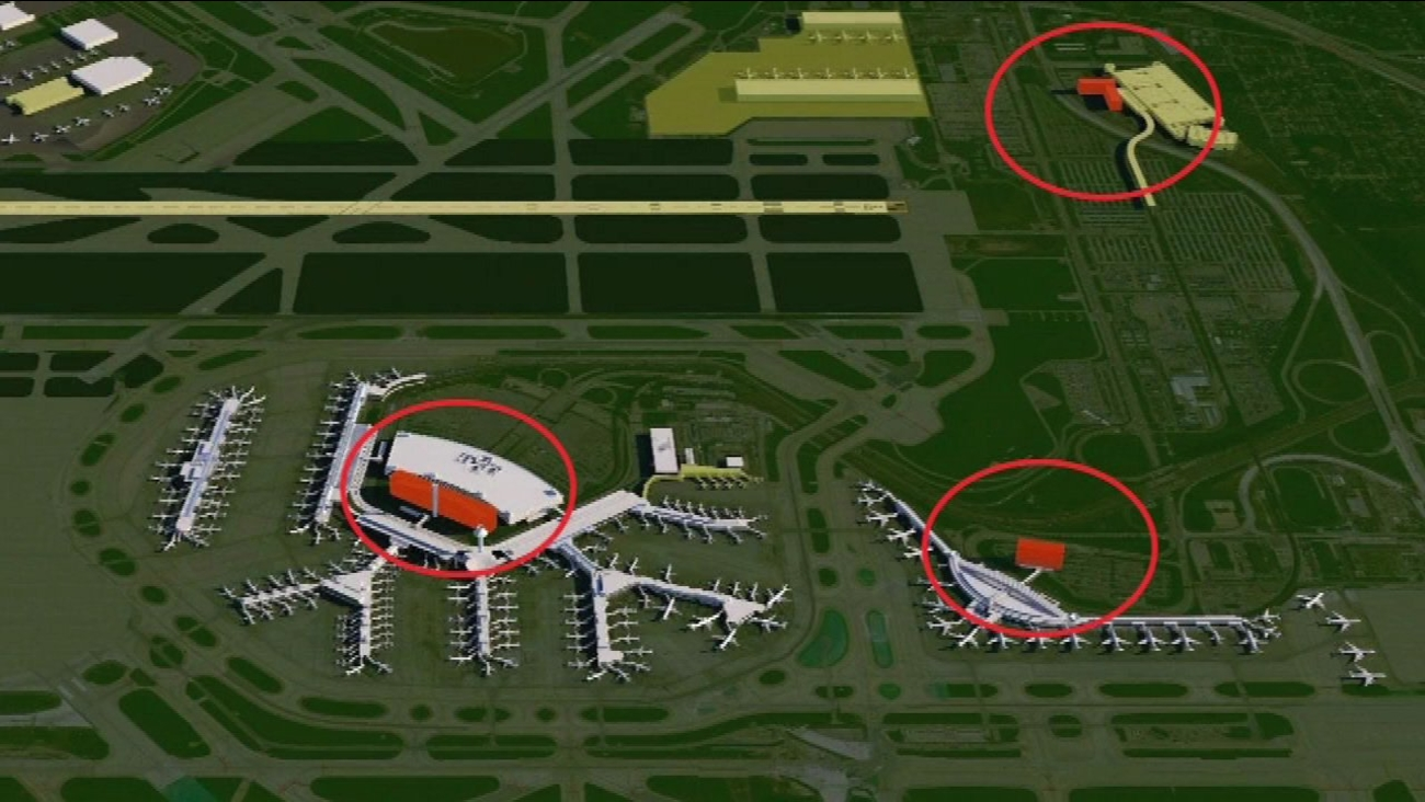 A rendering of three hotel projects around O'Hare Airport.