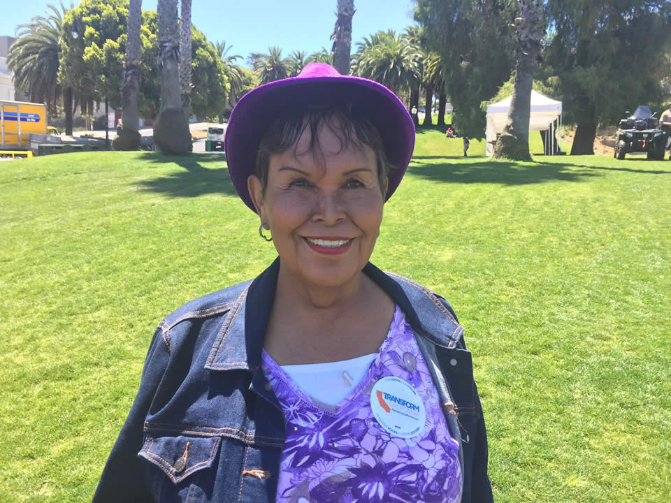 <div class='meta'><div class='origin-logo' data-origin='none'></div><span class='caption-text' data-credit='Lyanne Melendez/KGO-TV'>Felicia Elizondo -- an AIDS survivor, Vietnam veteran, and transgender person -- is seen at the LGBT Youth and Elder Brunch at Dolores Park in San Francisco on June 24, 2016.</span></div>