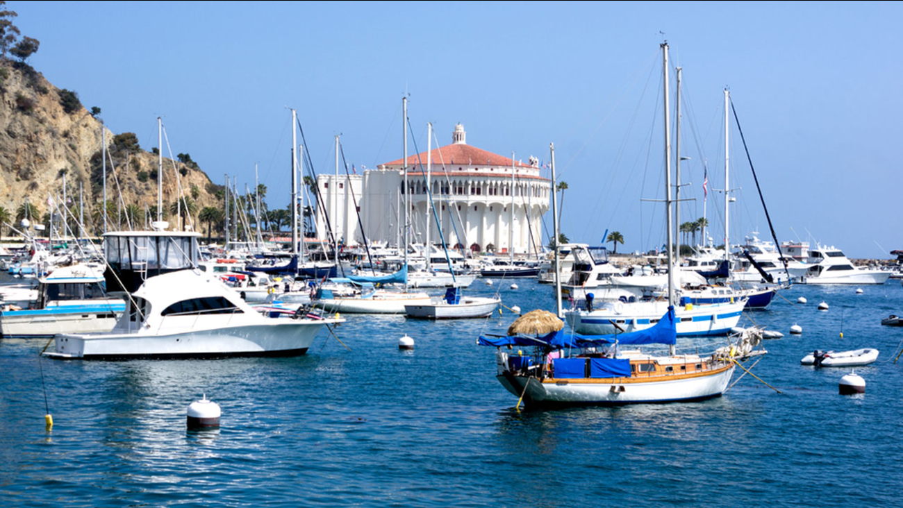 Yacht boats and sailboats are along the harbor on Catalina Island in an undated stock photo.