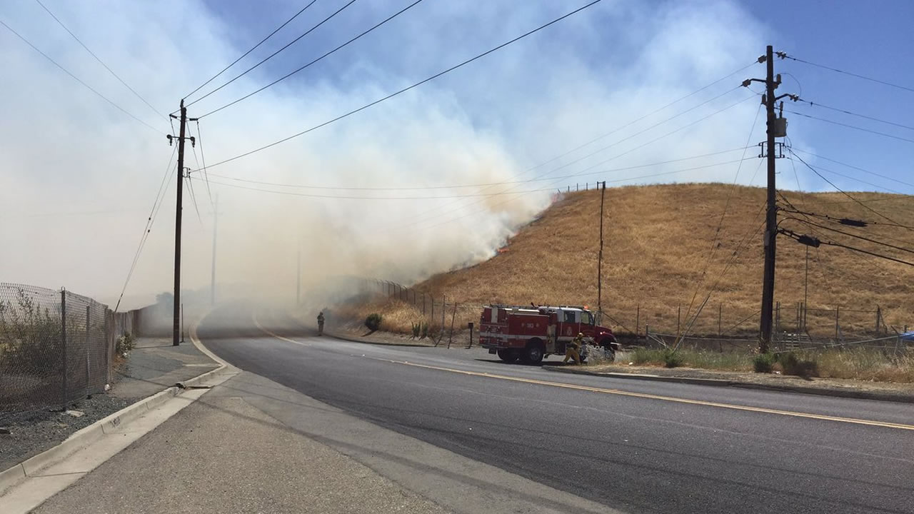 This image shows a 15-acre fire burning in Concord, Calif. along Highway 4 on June 25, 2016.