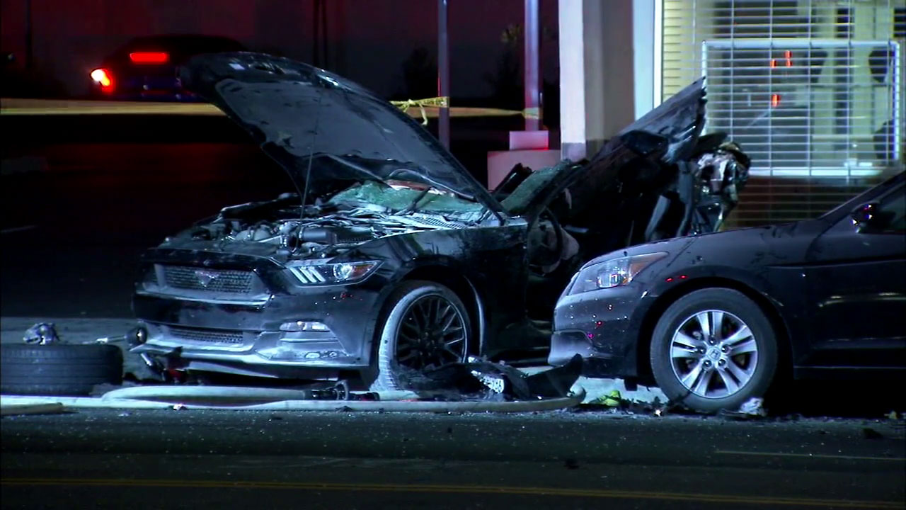 Three people died and five were injured in a fiery three-vehicle crash in Woodland Hills on Saturday, June 25, 2016.