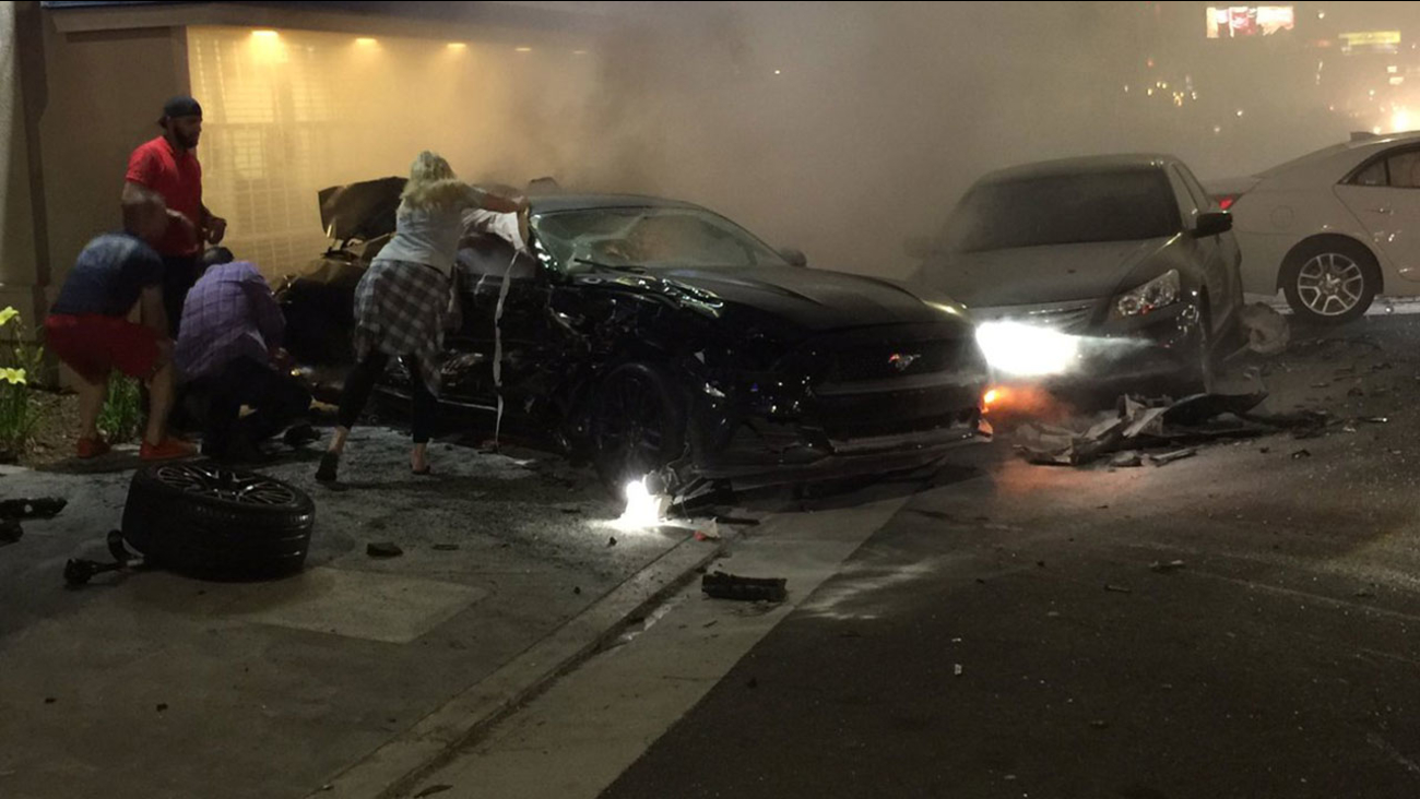 Three people died in a fiery three-vehicle crash in Woodland Hills on Saturday, June 25, 2016.