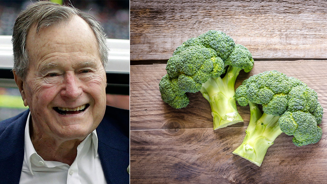 Former President George H.W. Bush is shown in a Nov. 4, 2012 file photo alongside a stock image of broccoli.