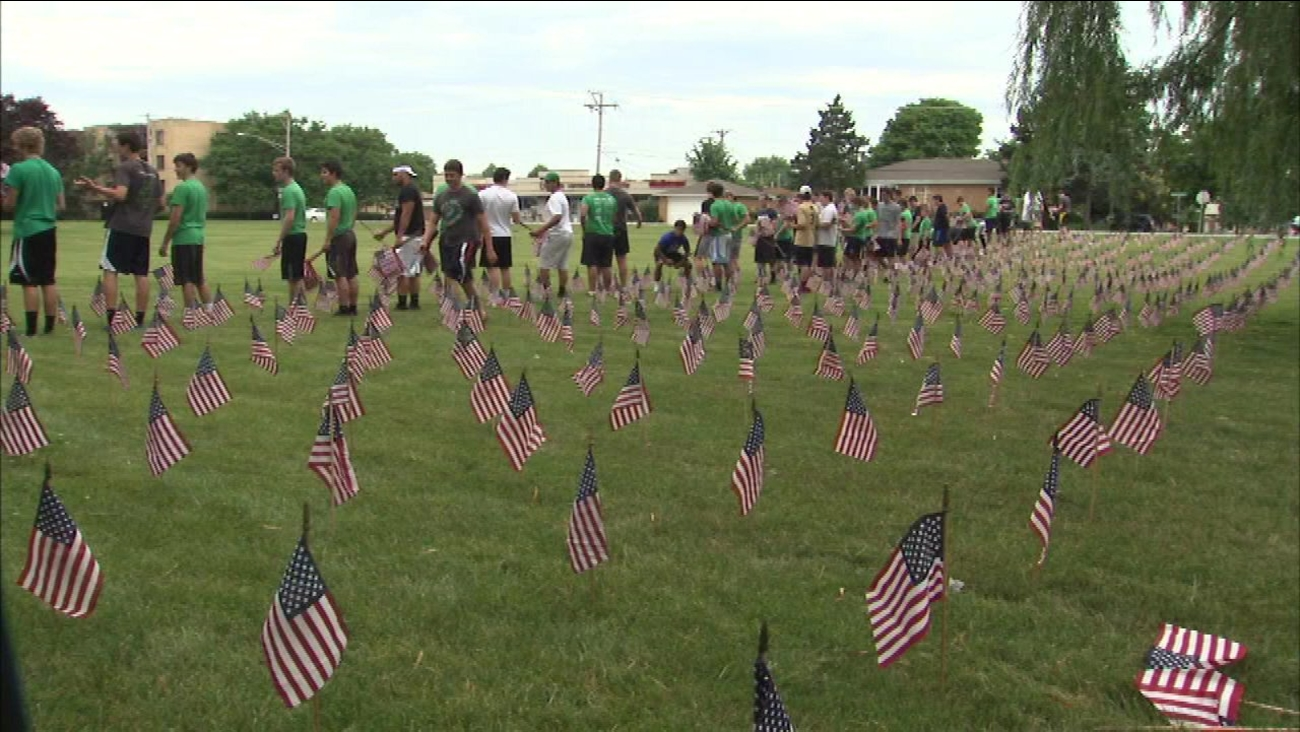 3,000 flags laid at Niles school lawn in honor of fallen troops