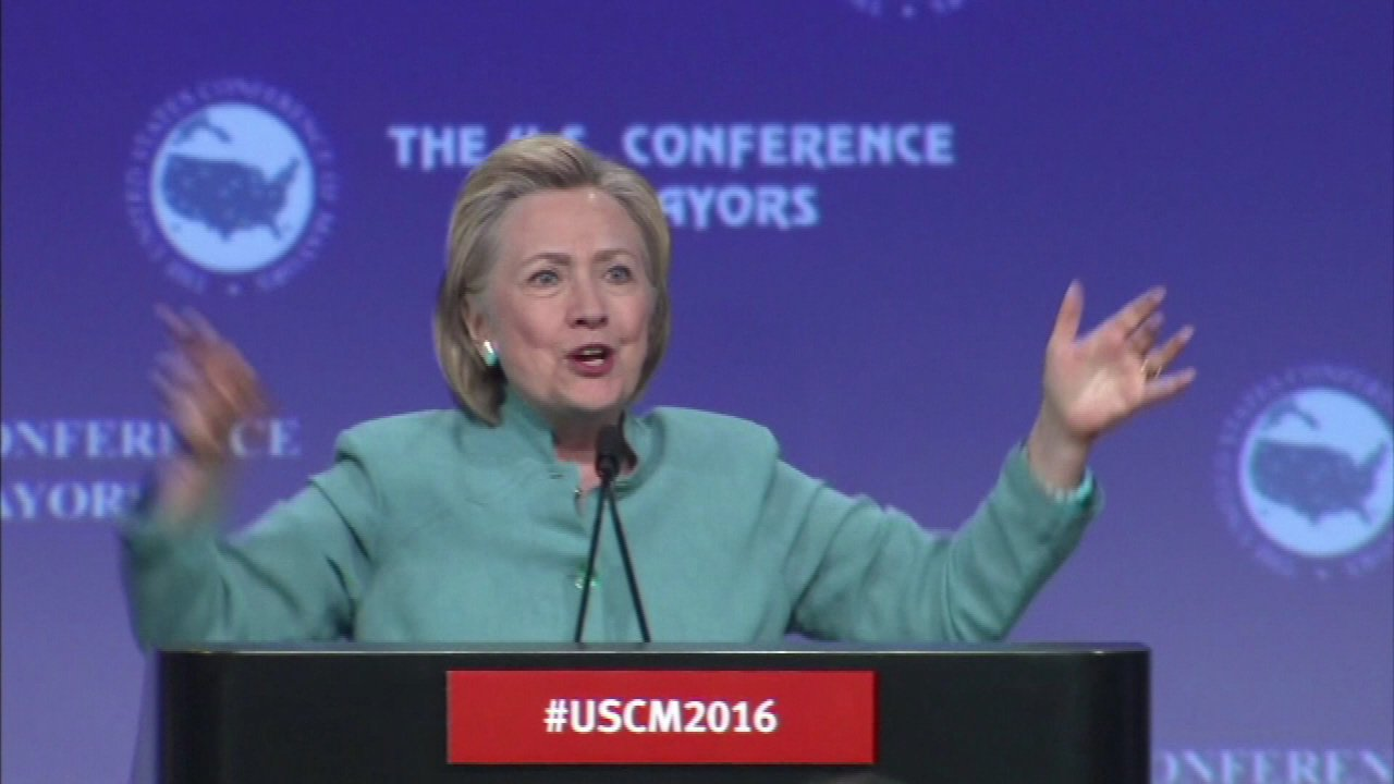 Hillary Clinton speaks at mayors conference
