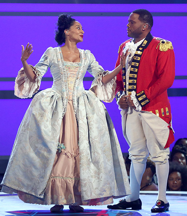 """<div class=""""meta image-caption""""><div class=""""origin-logo origin-image none""""><span>none</span></div><span class=""""caption-text"""">Hosts Tracee Ellis Ross, left, and Anthony Anderson perform a skit dressed as characters from the musical ''Hamilton'' at the BET Awards on Sunday in Los Angeles. (Matt Sayles/Invision/AP)</span></div>"""