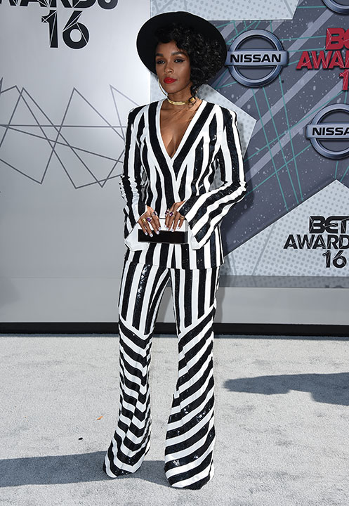 """<div class=""""meta image-caption""""><div class=""""origin-logo origin-image none""""><span>none</span></div><span class=""""caption-text"""">Janelle Monae arrives at the BET Awards on Sunday in Los Angeles. (Jordan Strauss/Invision/AP)</span></div>"""