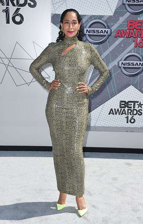 """<div class=""""meta image-caption""""><div class=""""origin-logo origin-image none""""><span>none</span></div><span class=""""caption-text"""">Host Tracee Ellis Ross arrives at the BET Awards on Sunday in Los Angeles. (Jordan Strauss/Invision/AP)</span></div>"""