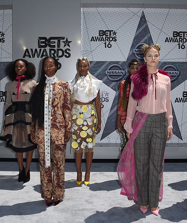 """<div class=""""meta image-caption""""><div class=""""origin-logo origin-image none""""><span>none</span></div><span class=""""caption-text"""">Dancers from Beyonce's Formation World Tour arrive at the BET Awards on Sunday in Los Angeles. (Jordan Strauss/Invision/AP)</span></div>"""