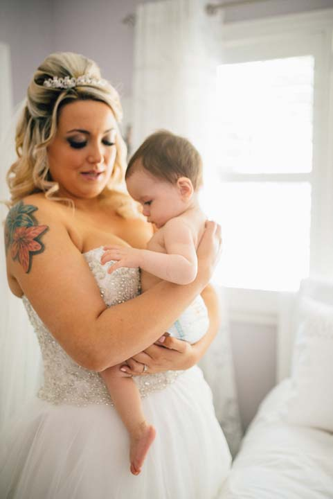 <div class='meta'><div class='origin-logo' data-origin='none'></div><span class='caption-text' data-credit='Lana Nimmons Photography'>Bride Christina Torino-Benton before the wedding ceremony with her 9-month-old daughter, Gemma.</span></div>