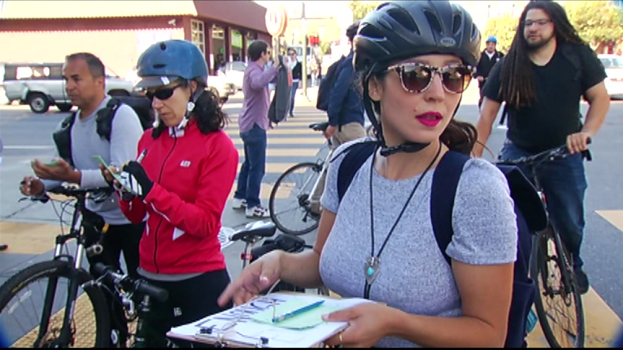 Bicyclists stopped to write letters to San Francisco Mayor Ed Lee asking for improved road safety on June 28, 2016.
