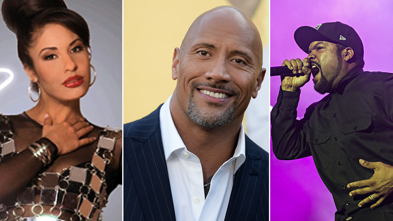 The 2017 Walk of Fame honorees include Selena Quintanilla (left), Dwayne 'The Rock' Johnson (center), and Ice Cube (right).