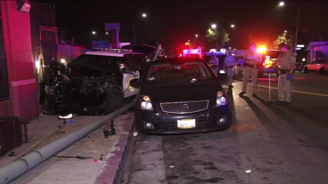 A high-speed chase on I-580 ended after a CHP cruiser crashed into multiple parked cars and a pole in Oakland, Calif. on Thursday, June 30, 2016.