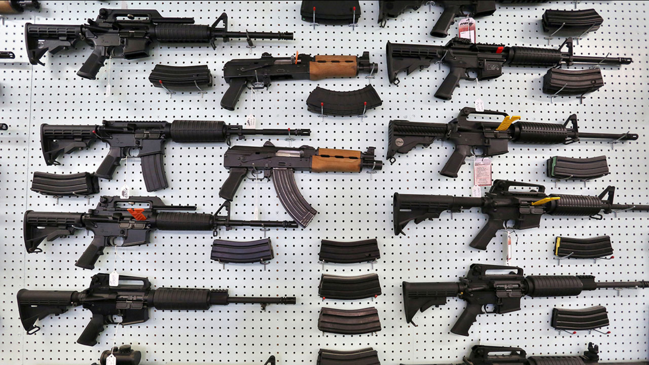 Guns are displayed for sale at a Colorado store in this 2014 file photo.