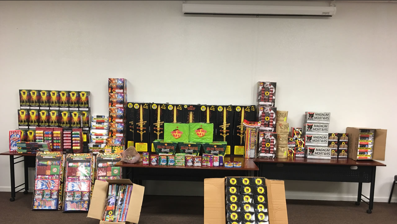 This image shows 600 pounds of fireworks taken from an East Palo Alto man on July 1, 2016.