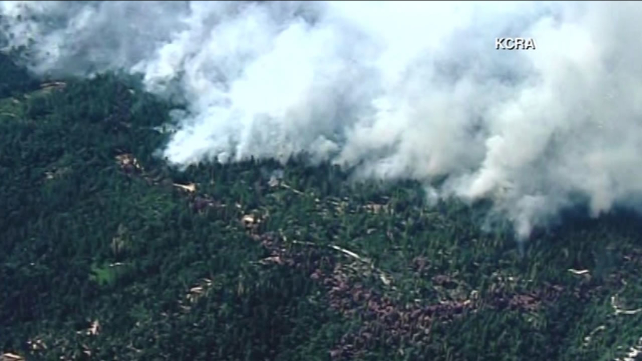 This image shows the Trailhead Fire that's burning in El Dorado County on July, 1, 2016.