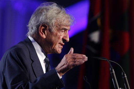 <div class='meta'><div class='origin-logo' data-origin='AP'></div><span class='caption-text' data-credit='(AP Photo/Charles Dharapak)'>Nobel Peace Prize laureate and Holocaust survivor Elie Wiesel speaks at the 20th anniversary of the United States Holocaust Memorial Museum.</span></div>