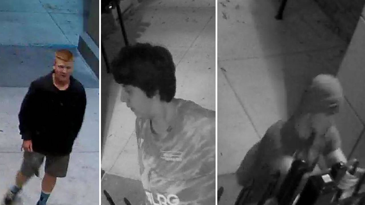 This image shows suspects accused of vandalizing Christopher High School who were captured on surveillance video.