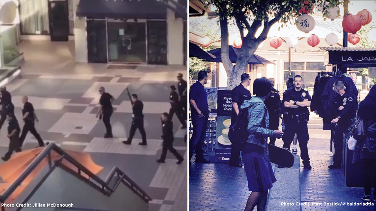 A man wielding a sword barricaded himself inside a cutlery store in Japanese Village Plaza in Little Tokyo on Sunday, July 3, 2016, according to the Los Angeles Police Department.