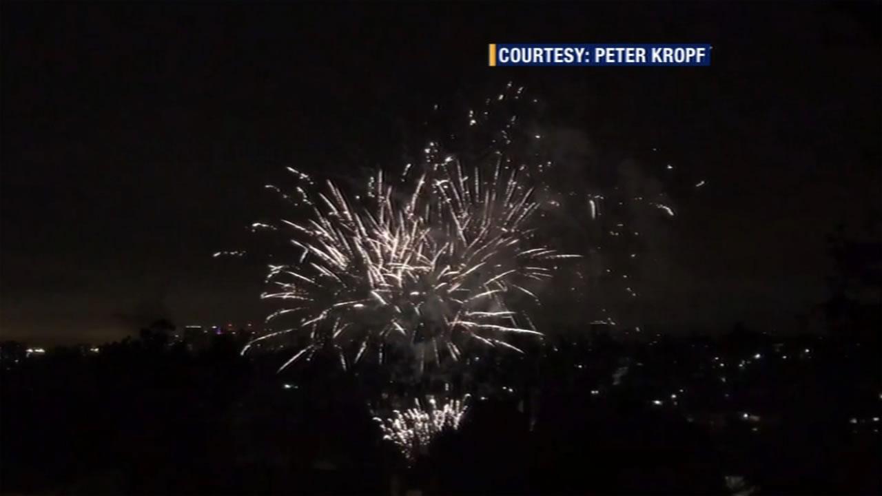 Despite a police crackdown, illegal fireworks still lit up the sky in Oakland, Calif. on Monday, July 4, 2016.