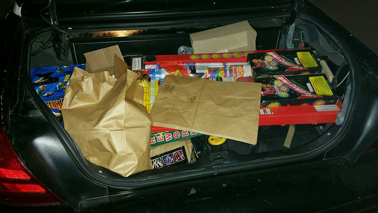An Alhambra patrol car is shown with a trunk full of illegal fireworks confiscated by authorities during the Fourth of July holiday on Monday, July 4, 2016.