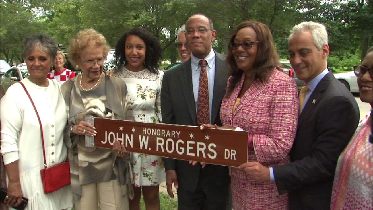 A section of 57th Street between Stony Island and Cornell Drive honors the late John W. Rogers, Sr.