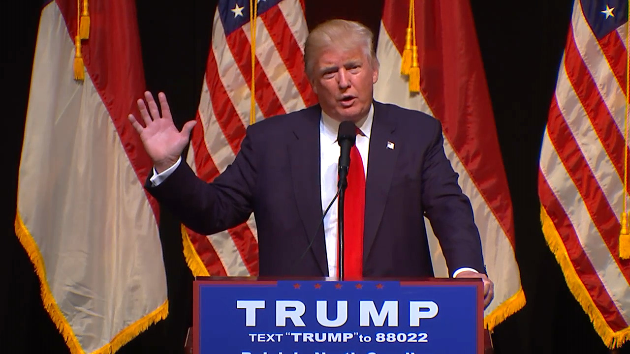 Donald Trump campaigns in Raleigh.