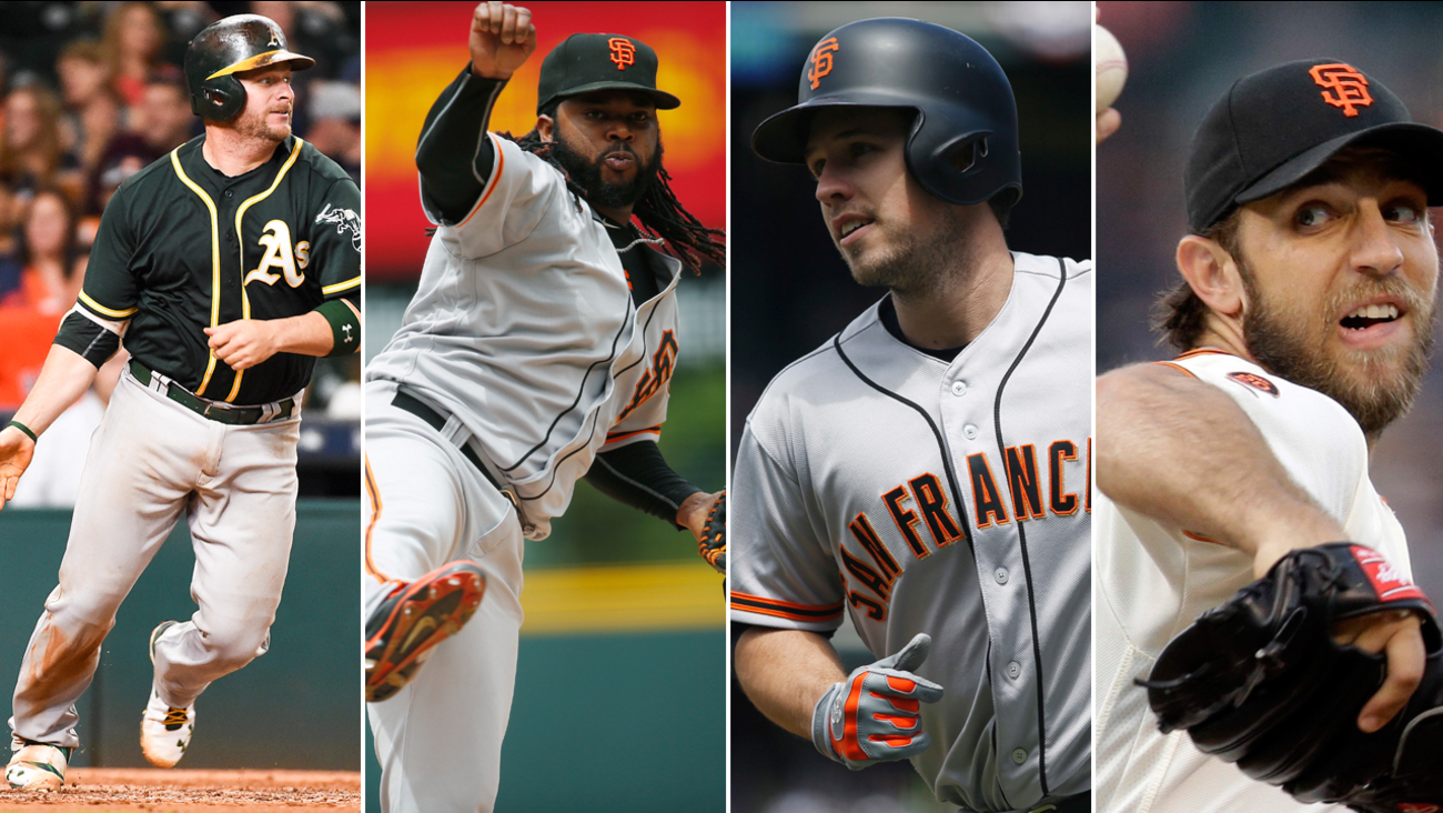 FILE -- (Left to right) Oakland A's Stephen Vogt, and San Francisco Giants Johnny Cueto, Buster Posey and Madison Bumgarner.