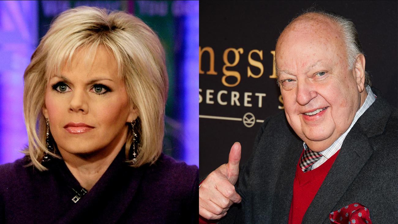 Left: Nov. 30, 2010 file photo, Gretchen Carlson; Right: Feb. 9, 2015 file photo, Roger Ailes