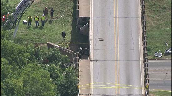 """<div class=""""meta image-caption""""><div class=""""origin-logo origin-image ktrk""""><span>KTRK</span></div><span class=""""caption-text"""">Police say an 18-wheeler crashed into a bridge in Sealy causing a bridge to collapse on a car. (KTRK)</span></div>"""