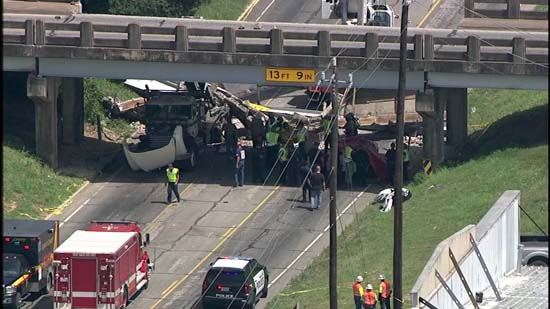 "<div class=""meta image-caption""><div class=""origin-logo origin-image ktrk""><span>KTRK</span></div><span class=""caption-text"">Police say an 18-wheeler crashed into a bridge in Sealy causing a bridge to collapse on a car. (KTRK)</span></div>"