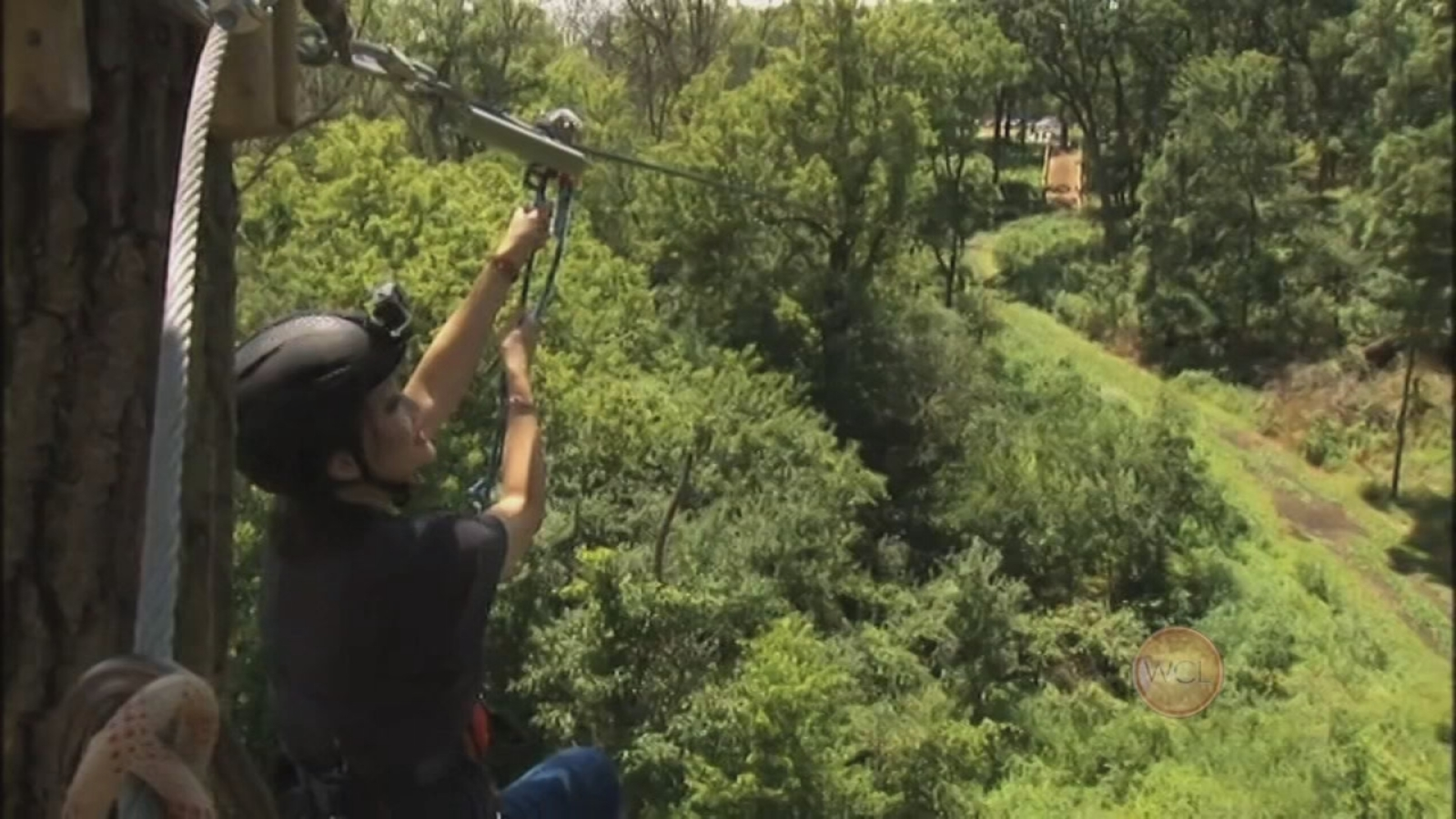 Ji Tries Out Go Ape Zip Line And Treetop Adventure Abc7 Chicago