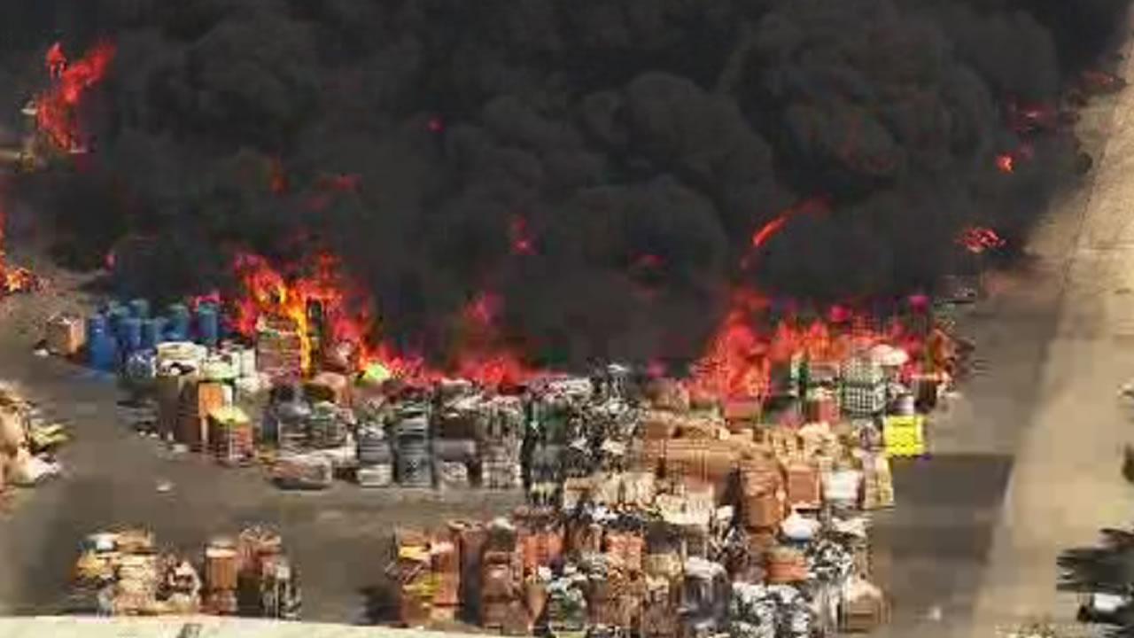 "<div class=""meta image-caption""><div class=""origin-logo origin-image none""><span>none</span></div><span class=""caption-text"">A massive fire burns at a recycling center in Newark, Calif., on Friday, June 8, 2016. (KGo_TV)</span></div>"