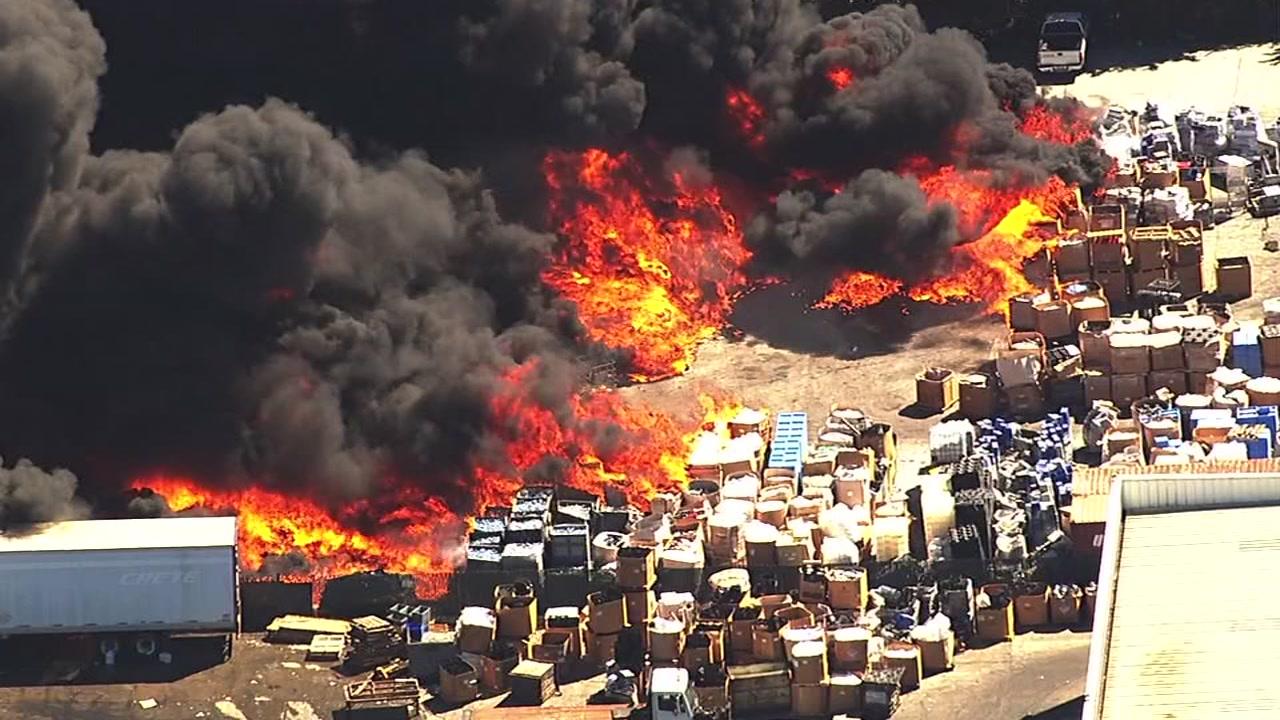 "<div class=""meta image-caption""><div class=""origin-logo origin-image none""><span>none</span></div><span class=""caption-text"">A massive fire burns at a recycling center in Newark, Calif., on Friday, June 8, 2016. (KGO-TV)</span></div>"