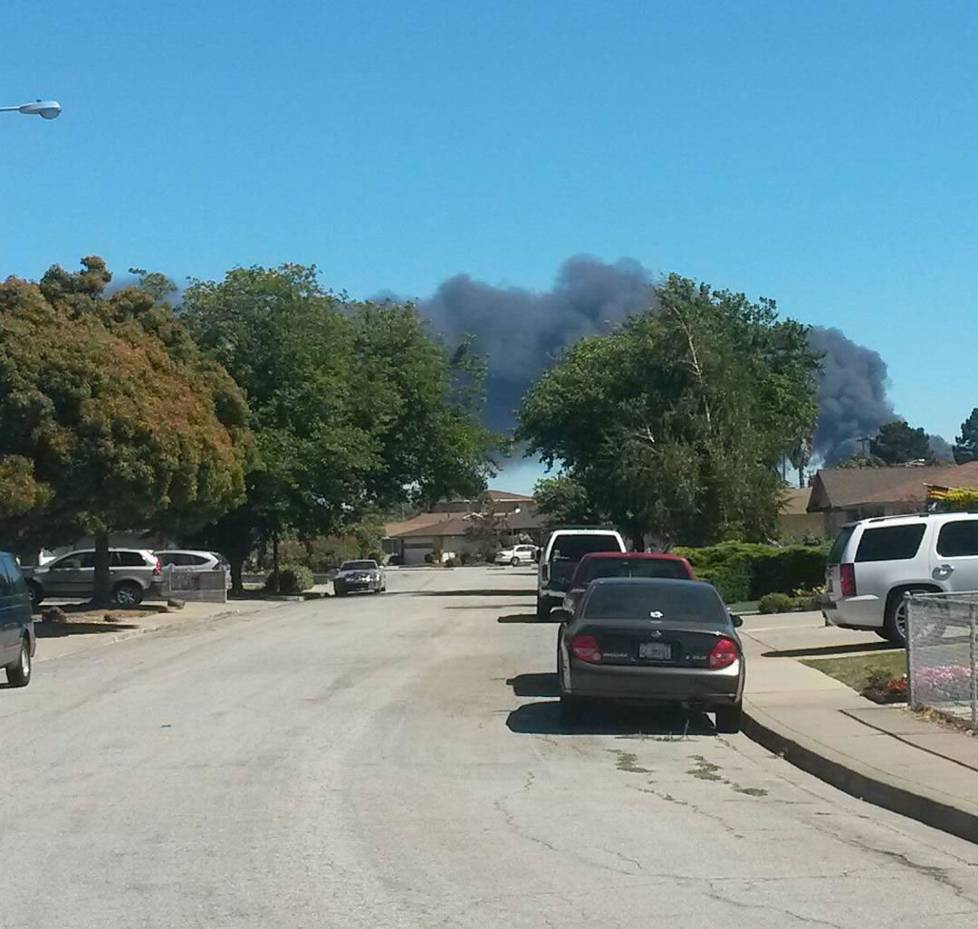 """<div class=""""meta image-caption""""><div class=""""origin-logo origin-image none""""><span>none</span></div><span class=""""caption-text"""">A massive fire burns at a recycling center in Newark, Calif., on Friday, June 8, 2016. (Photo submitted to KGO-TV by @jimsjoint/Twitter)</span></div>"""