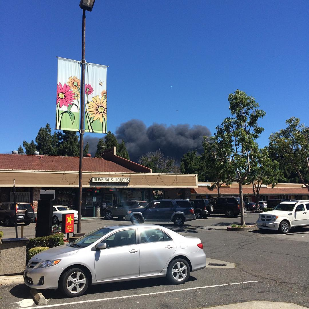 """<div class=""""meta image-caption""""><div class=""""origin-logo origin-image none""""><span>none</span></div><span class=""""caption-text"""">A massive fire burns at a recycling center in Newark, Calif., on Friday, June 8, 2016. (Photo submitted to KGO-TV by @otterbefun/Instagram)</span></div>"""
