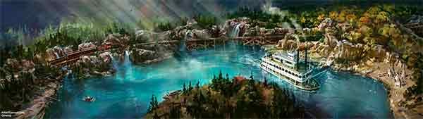 An artist rendering shows the new Rivers of America waterfront at Disneyland Park in California.