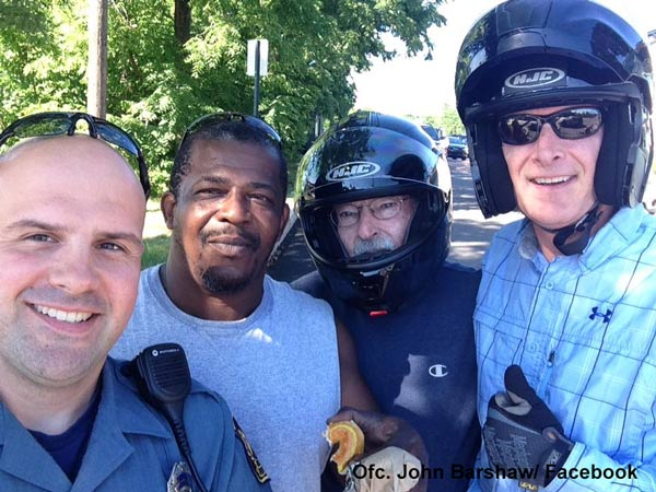 """<div class=""""meta image-caption""""><div class=""""origin-logo origin-image wpvi""""><span>WPVI</span></div><span class=""""caption-text"""">Collegeville Police Officer John Barnshaw is thankful for a Good Samaritan for helping him aid a man who fell from a motorcycle.</span></div>"""