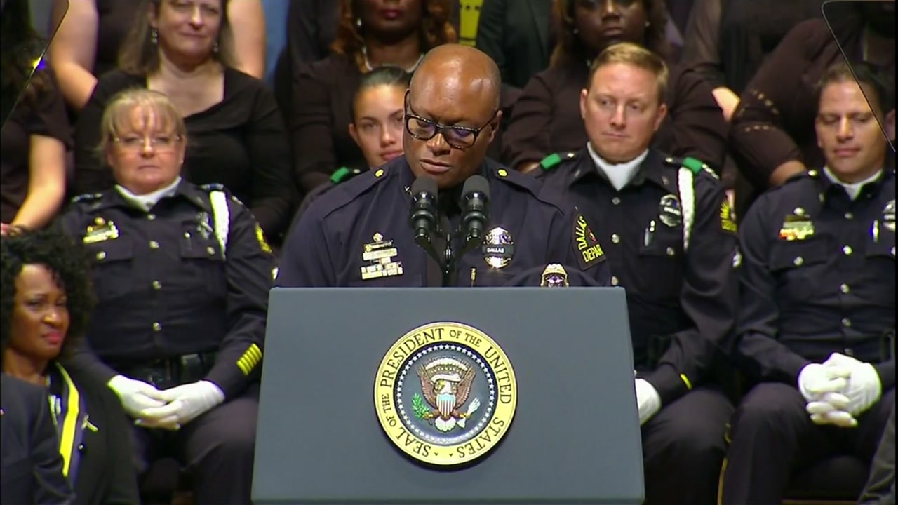 Dallas Police Chief Brown speaks at Memorial