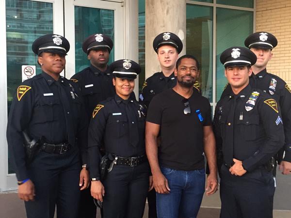 <div class='meta'><div class='origin-logo' data-origin='WTVD'></div><span class='caption-text' data-credit=''>Six officers represent the Fayetteville Police Department in Dallas</span></div>