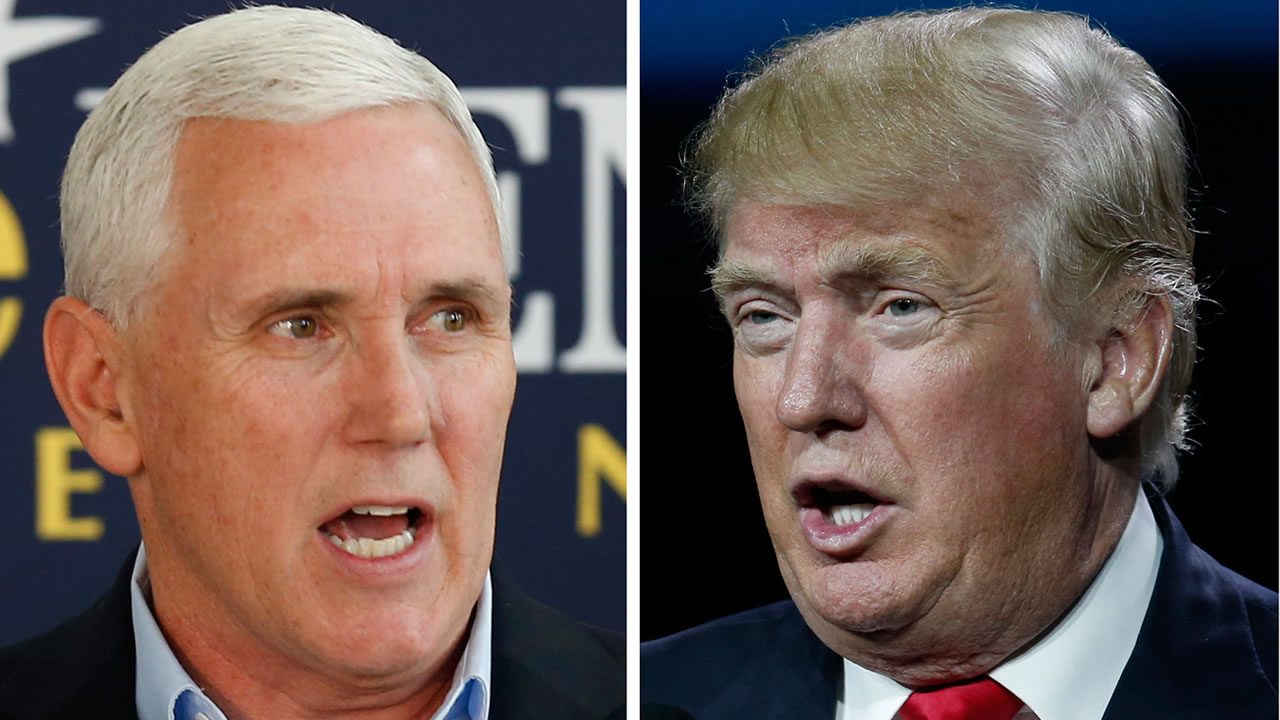 This photo combination of file images shows Indiana Gov. Mike Pence, left, and Republican presidential candidate Donald Trump. (AP Photo/Michael Conroy, David Zalubowski)