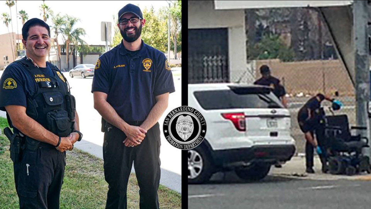 San Bernardino County probation officers Paulsen and Polino are shown alongside an image captured of them helping an elderly woman in a wheelchair on Wednesday, July 13, 2016.