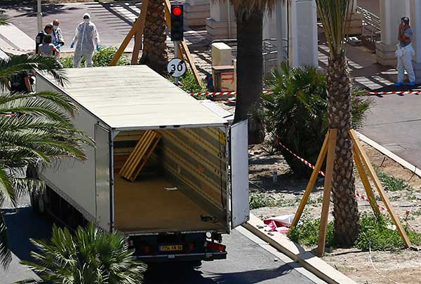 <div class='meta'><div class='origin-logo' data-origin='none'></div><span class='caption-text' data-credit='Francois Mori/AP Photo'>Police officers work near by truck that mowed through revelers in Nice, southern France, Friday, July 15, 2016.</span></div>