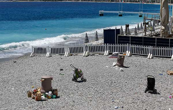 "<div class=""meta image-caption""><div class=""origin-logo origin-image none""><span>none</span></div><span class=""caption-text"">Discarded items are left on the beach, not far from the site of the truck attack in the French resort city of Nice, southern France, Friday, July 15, 2016. (Luca Bruno/AP Photo)</span></div>"