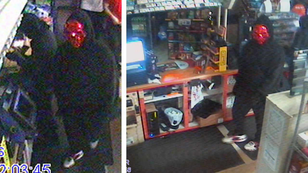 One of the robbers was wearing a distinctive red mask.