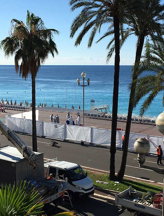 "<div class=""meta image-caption""><div class=""origin-logo origin-image none""><span>none</span></div><span class=""caption-text"">Forensic officials work on the beach next to the famed Promenade des Anglais, scene of the truck attack, in Nice, southern France, Friday, July 15, 2016. (Sinan Baykent/AP Photo)</span></div>"
