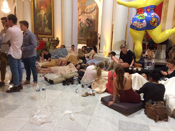<div class='meta'><div class='origin-logo' data-origin='none'></div><span class='caption-text' data-credit='Alban Mikoczy/France2'>Uninjured but shocked people taking respite in the lobby of Le Negresco hotel.</span></div>