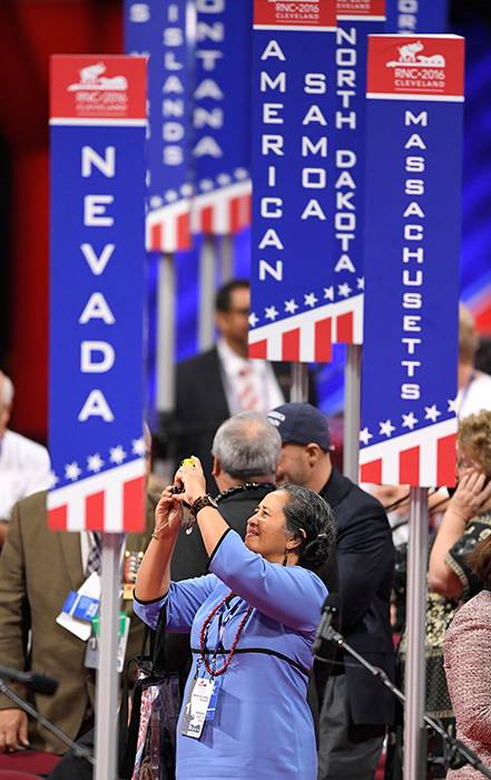 "<div class=""meta image-caption""><div class=""origin-logo origin-image ap""><span>AP</span></div><span class=""caption-text"">People tour the floor of the Quicken Loans Arena before the start of the Republican National Convention in Cleveland, Monday, July 18, 2016. (Mark J. Terrill/AP)</span></div>"